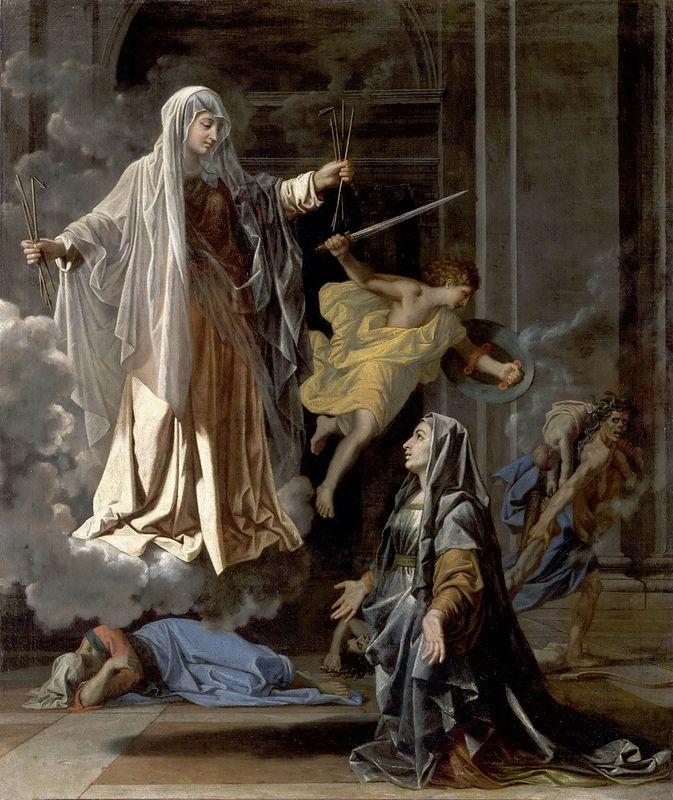 Nicolas Poussin - Santa Francesca Romana [c.1657] I think it's cool how the…