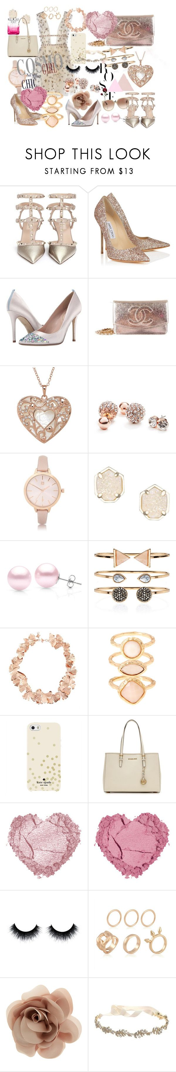 """Rose Gold Christmas"" by thcleanelegance on Polyvore featuring Valentino, Jimmy Choo, SJP, Chanel, GUESS, River Island, Kendra Scott, Suzy Levian, Accessorize and Aurélie Bidermann"