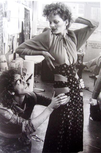 Fashion designer Ossie Clark with model Gala Mitchell, 1970s.