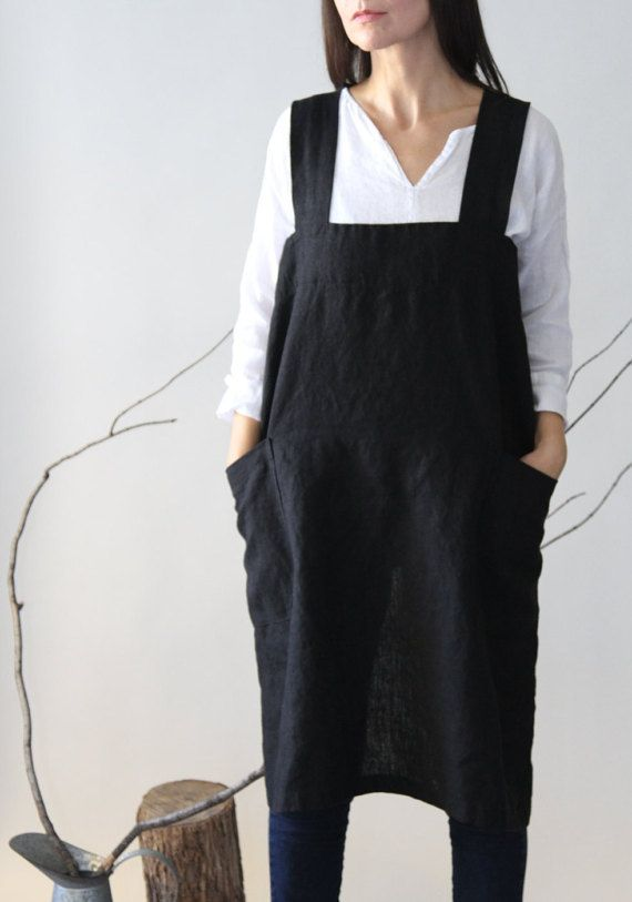 Heavy Linen Square-Cross Aprons/Pinafore/No-Ties by LostinLinen