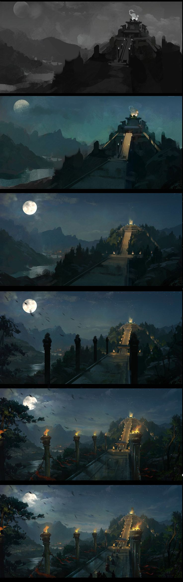 Process Of One Concept by dawnpu on deviantART. I love concept art...I aspire towards being able to build a mood with just scenery