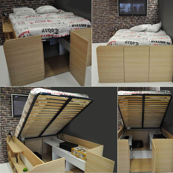 1000 id es sur le th me lit coffre sur pinterest lit coffre 160 lit coffre - Lit avec coffre rangement ...