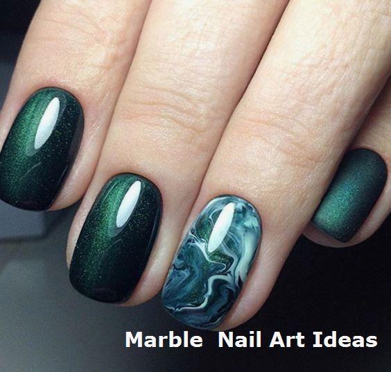 Über 30 herausragende Designs für smaragdgrüne Nägel…   – Marble Nails for You