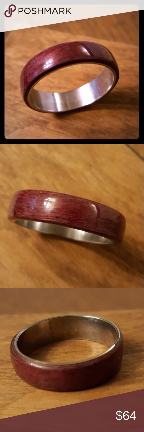 Purpleheart Bentwood Ring with SS core This bentwood ring is made from Purpleheart with a stainless steel core.  Please choose from US size 6 through US size 14 and width from 4mm, 6mm or 8mm  My rings are handcrafted one at a time from the Stainless Steel Band and the Bentwood process to place the wood inlay around the band. I then seal it with several layers of water resistant finish and polish to a deep shine.  This SS is cut from a ring blank and does contain an inner seam although you…
