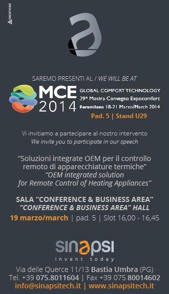 """OEM integrated solution for Remote Control of Heating Appliances"" - Conference & Business Area Hall - 19 March - pad. 5 - Slot 16,00-16,45"