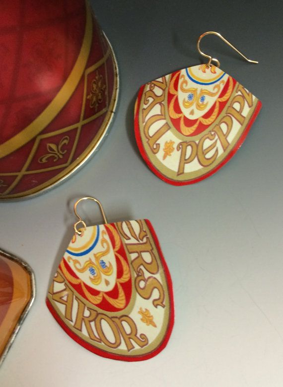 Large Red Border earrings with unusual shape by SusanParrishArt