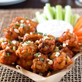 Oven-Baked Chicken Wings with Hot Wing Sauce - used baking method & tossed in wing sauce