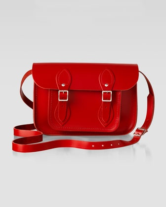 "Cambridge Satchel Company 11"" Leather Satchel, Red - Neiman Marcus"