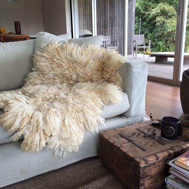 Wool Island Rug Throw Mini Handmade Of White Lambs By Felt In