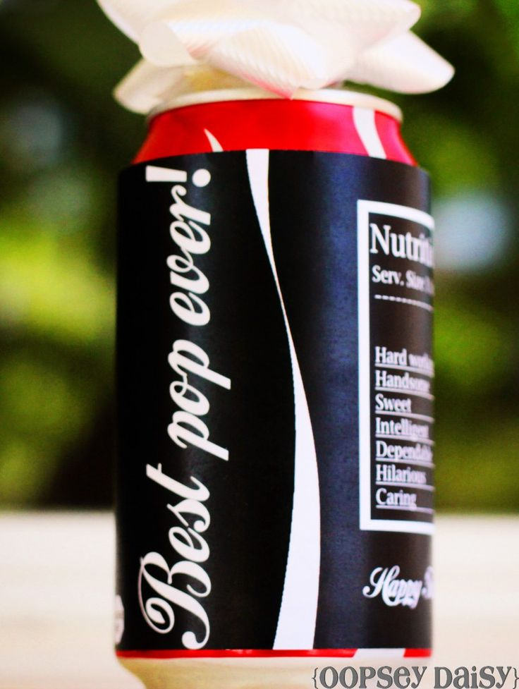 "Father's day gift for the best ""pop"" ever, printable sleeve for coke can"