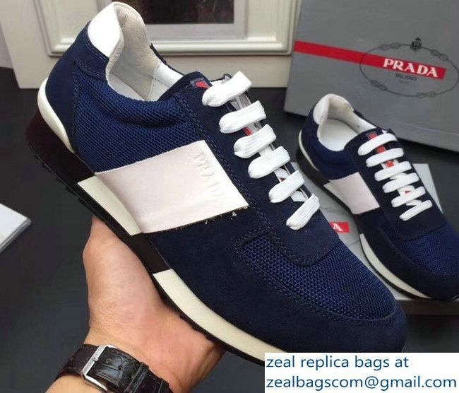 3958238367 Prada Suede And Technical Fabric Men\'s Sneakers Blue 2018   Luxury ...