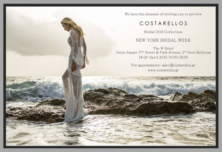4 days till #NewYorkBridalWeek where we will, once again, be presenting our new #Bridal2016 collection!   18-20 April   W Hotel Union Square   For appointments please contact sales@costarellos.gr  #comingsoon #newbridalcollection #bridalchic #madeingreece #bridalweek #bridalmarket #bridalfashionweek #bridalfashion #nybw #nybfw #nybridalweek #newyork #newcollection #weddingsensation #perfectbride #thatdress #bridaldress #christoscostarellos #costarellos #bridalperfection