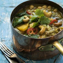 Vegetable Curry Topped with Cashew Nuts