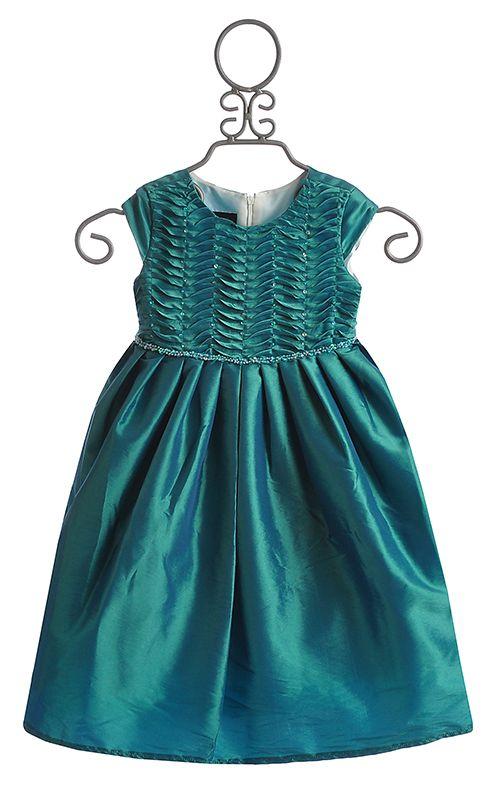 Isobella and Chloe Enya Teal Waves Little Girls Dress