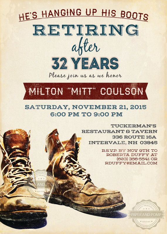 Retirement Invitation Construction Boots Laborer by PaperandPomp                                                                                                                                                      More