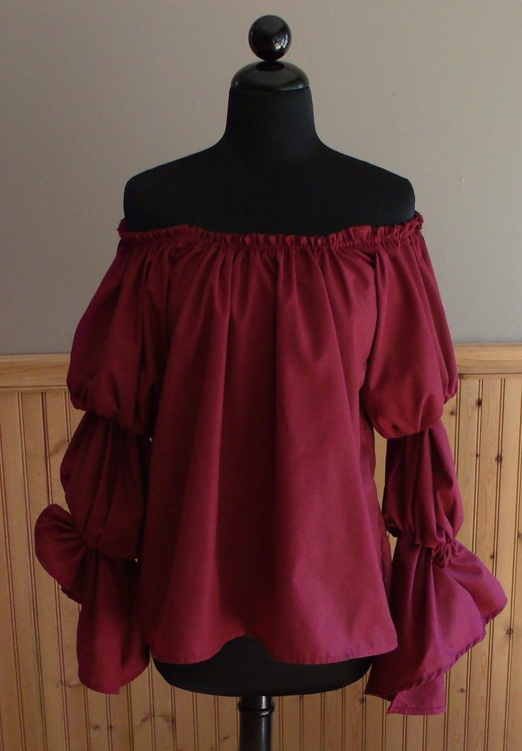 Pirate Wench Gypsy Renaissance Blouse Chemise Costume Burgundy