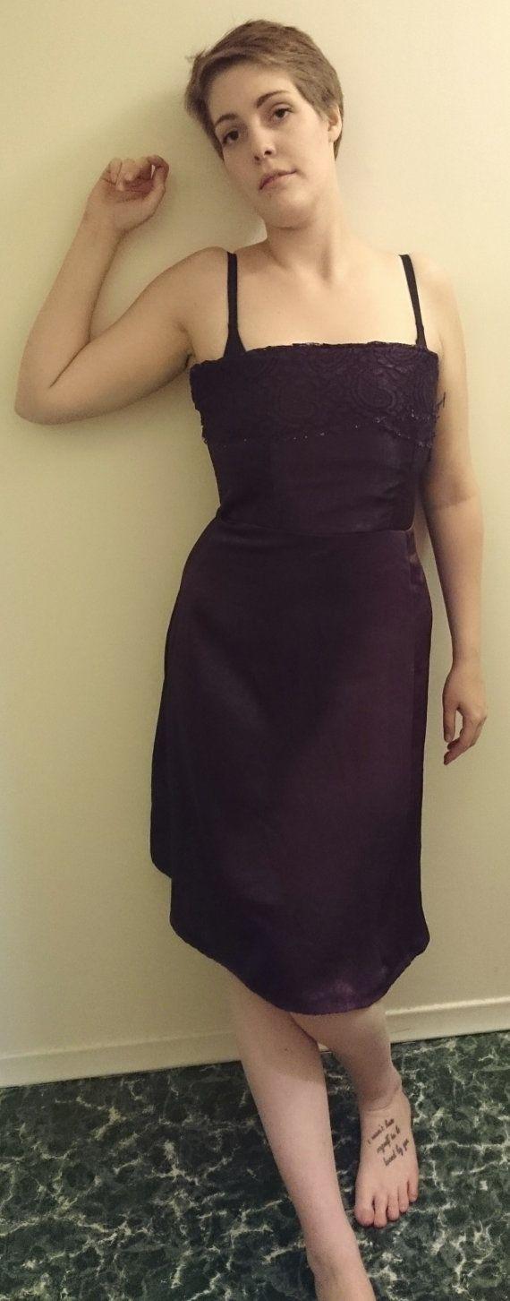 """Elegant Eggplant Vintage Satin Formal Dress - $165.00 100% Polyester Size 10  Measurements: Bust- 36"""" Waist- 32"""" Hips- 40"""" Length - 33"""" (from bra line)"""