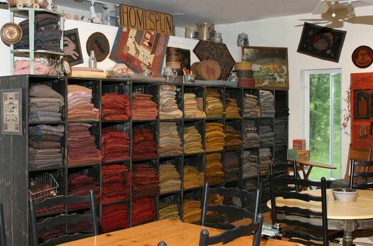 """I've spent hours staring at this wool!  Rhonda Manley's studio, """"Black Sheep Wool Designs.""""  Love it!: Fabrics Storage, Sheep Wool, Art Studios, Crafts Rooms, Rugs Hooks, Dreams Rooms, Wool Storage, Quilts Studios, Hooks Rugs"""