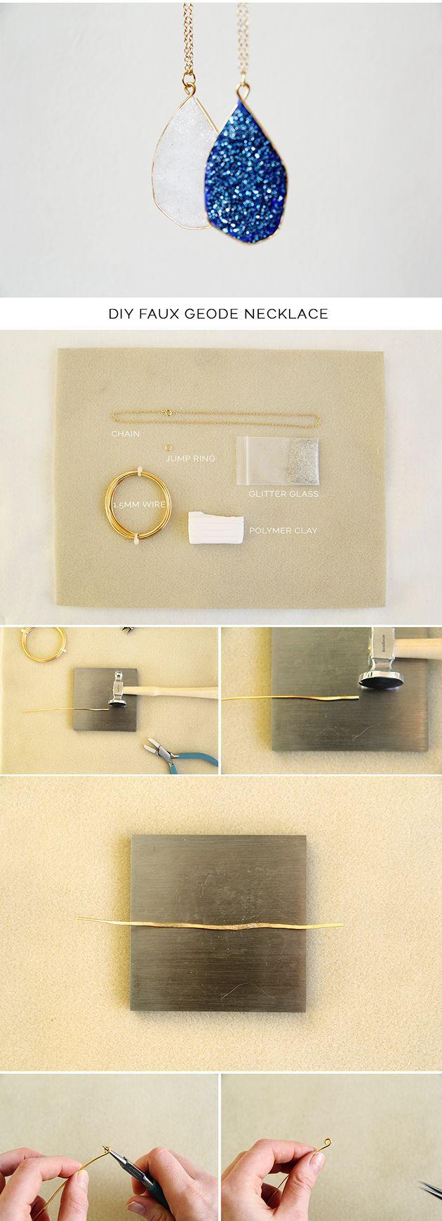 DIY Faux geode necklace