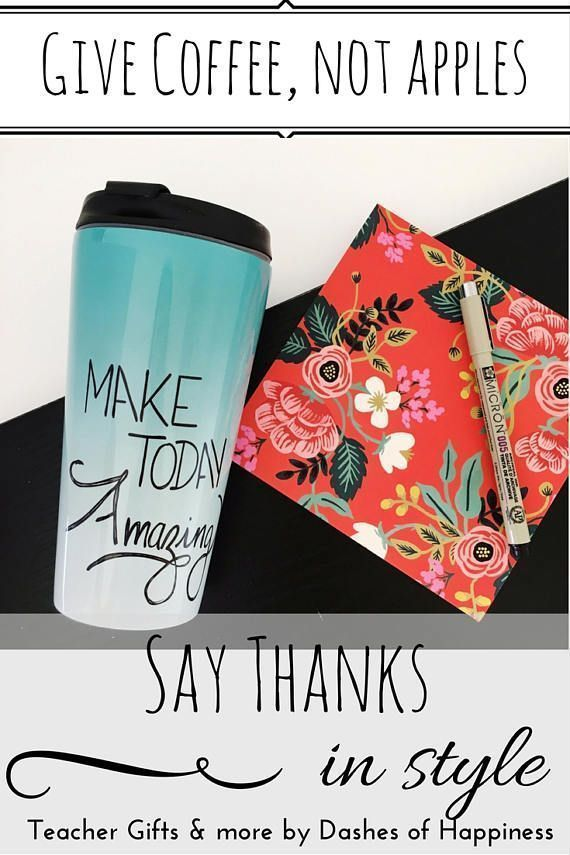 When you need a gift for your child's favorite teacher- I beg you to please step away from the apples! Grab a gift card and deliver it in style inside a unique and cheerful hand lettered travel mug. You'll be at the head of the class in no time.  * teacher gifts * travel mug * coffee mug *teacher mug *