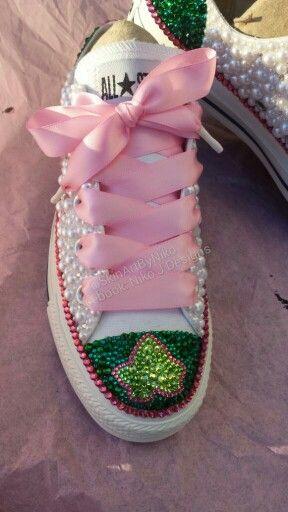 Custom AKA pearl bling converse. See video of these on my Instragram @SkinArtByNiko or Facebook in my page Niko J Designs.