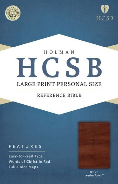 HCSB Large Print Personal Size Reference Bible-Brown LeatherTouch