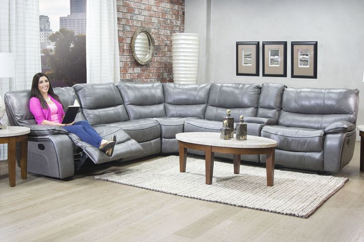 Lotus Leather Seating Gray Reclining Sofa Media Image 2