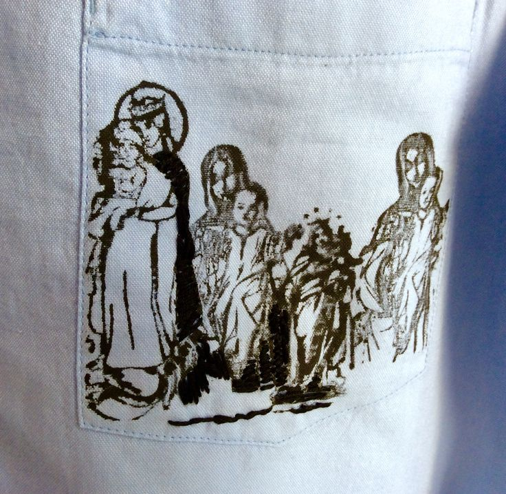 T-shirt My angels. Linocut print, embroidery. Detail