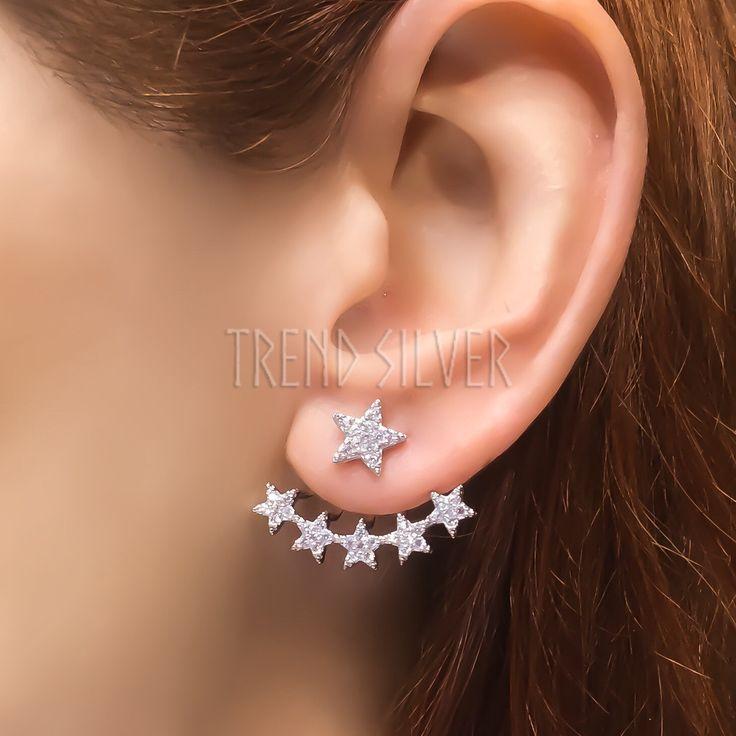 Star ear jacket sterling silver fan shape ear pins earrings white zirconia ear climber ear cuff earrings Double sided front back ear pin EJ1 by TrendSilver on Etsy https://www.etsy.com/listing/242704076/star-ear-jacket-sterling-silver-fan