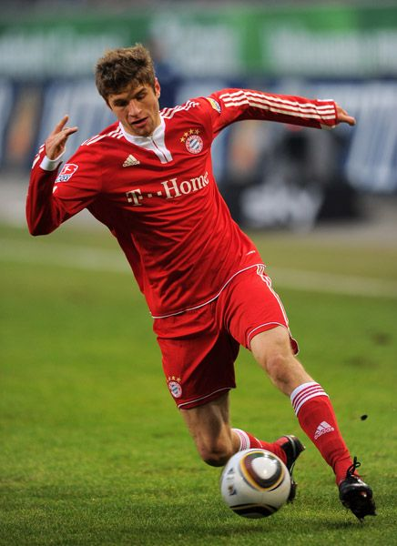 Thomas Müller is a German footballer who plays for Bayern Munich and the German national team. Müller plays as a midfielder or forward, and has been deployed in a variety of attacking role