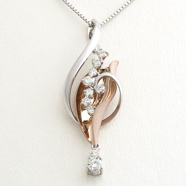 K18ピンクゴールド/ホワイトゴールドダイヤペンダント ダイヤ:0.50ct