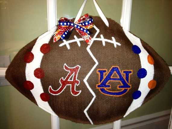 House Divided - Bama vs Auburn - Burlap Door Hanger. Except it would be Arkansas vs LSU.