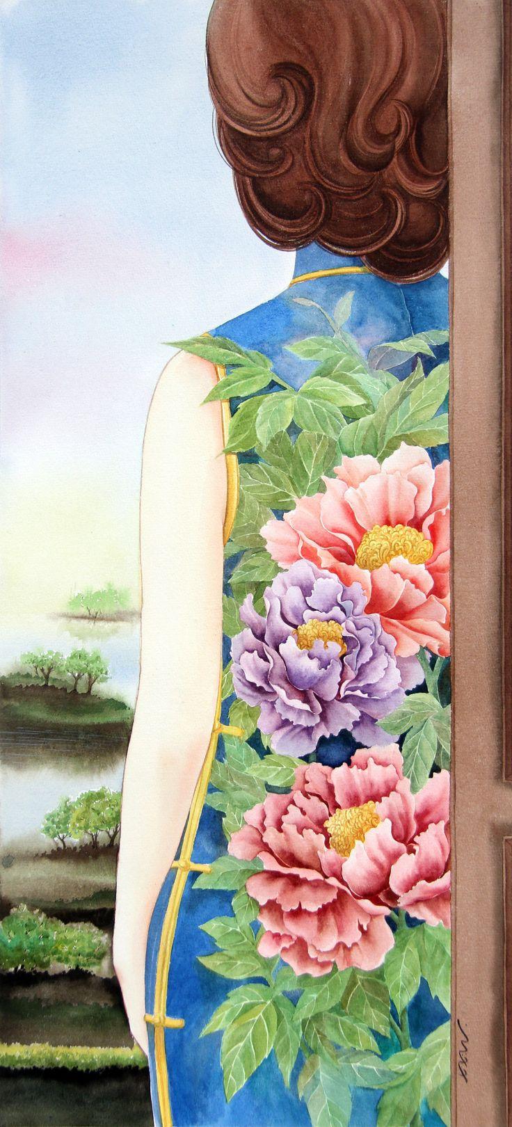 Driade con Qipao. 29cm x 73cm http://www.xixiwang.it/portfolio/driade-con-qipao/