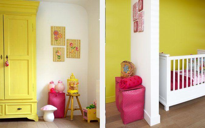 Leuke #babykamer roze en geel | Pink and yellow #nursery #kidsroom