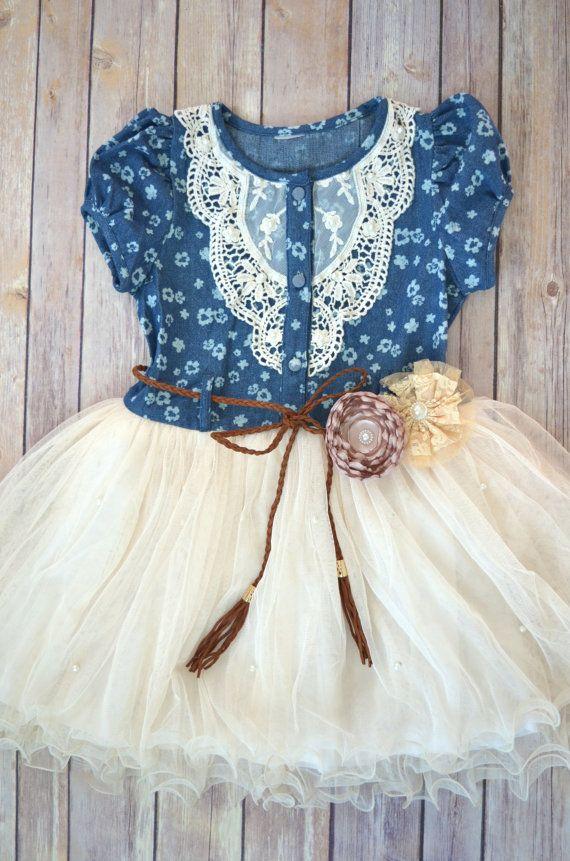SALE SALE Girls Ivory Tutu Dress Denim by MaidenLaneBoutique