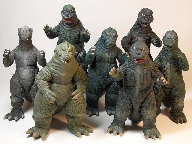 Awesome group shot of Bandai figures from Showa-era Godzilla movies (1954-1974). All Godzillas are welcome to come home with me.