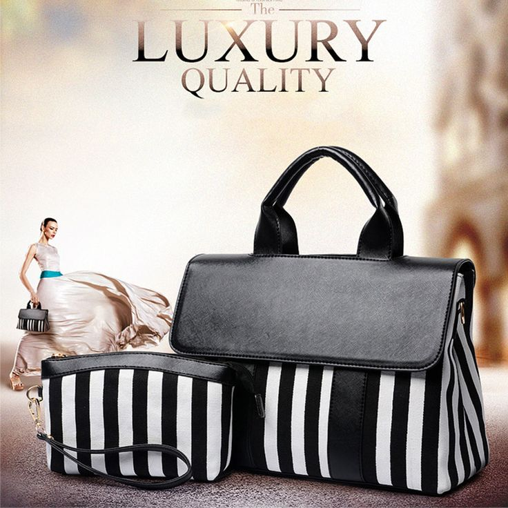 Women Handbag Striped Shoulder Bags Clutch Bag Fashion Leather Canvas Messenger Bag Ladies Crossbody Designer Composite Bag //Price: $54.06 & FREE Shipping //     #womenbags