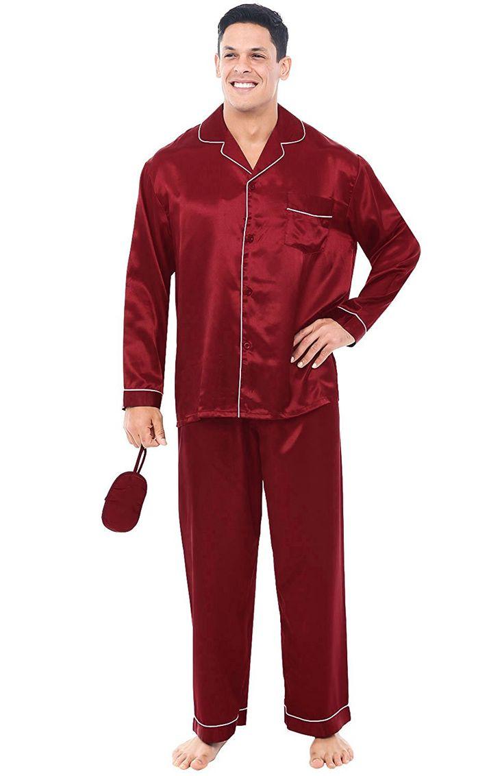 Del Rossa Men's Satin Pajamas, Long Button-Down Pj Set at ...