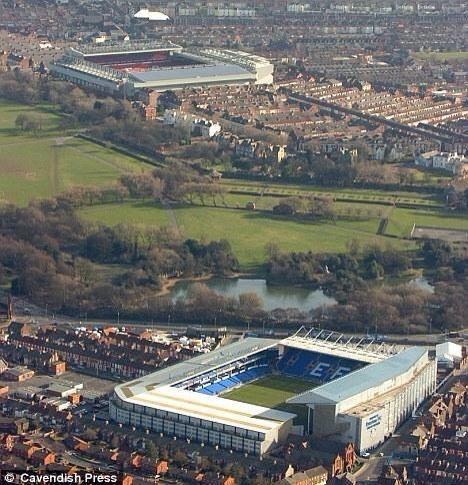 L'incroyable faible distance entre les stades de Liverpool et Everton - http://www.actusports.fr/119568/lincroyable-faible-distance-les-stades-liverpool-everton/