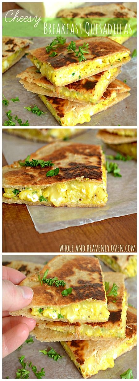Crispy on the outside and gooey and cheesy inside, these quesadillas are stuffed with scrambled eggs and lots of cheddar cheese. | wholeandheavenlyoven.com
