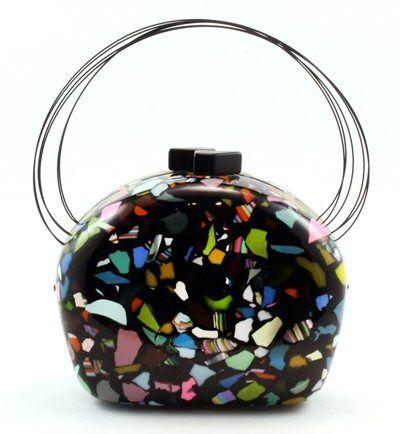 Sobral Art Deco Handbag  This handmade bag features multicolored broken resin pieces