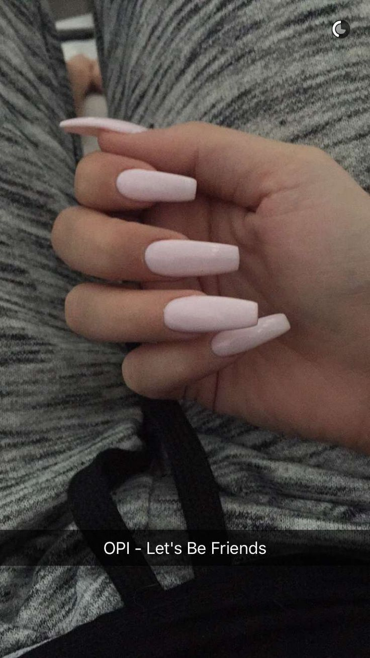 Light Pale Pink Long Acrylic Coffin Nails