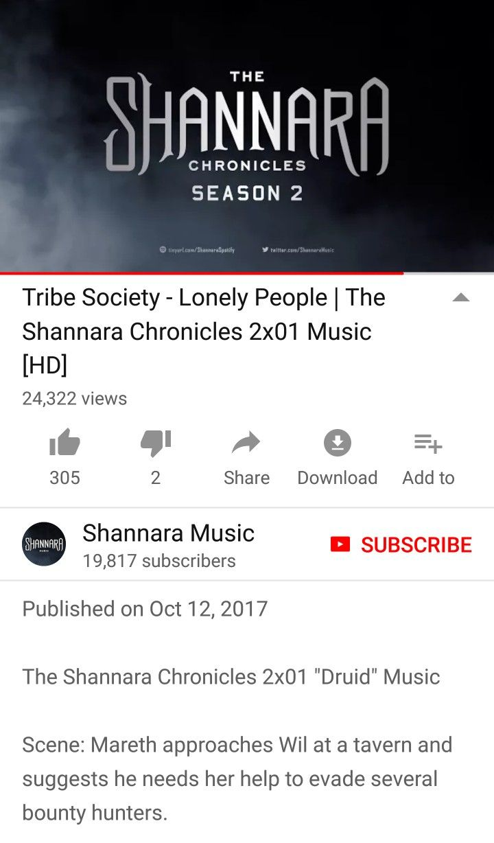 Tribe Society - Lonely People | The Shannara Chronicles 2x01 Music [HD] on YouTube https://youtu.be/evbB-hhkJ8Y