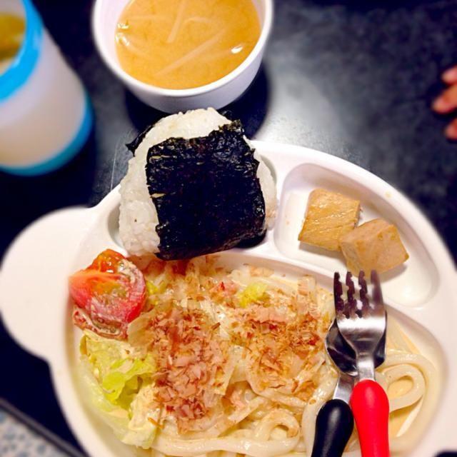 子どものためのプレートごはん - 8件のもぐもぐ - サラダうどん☆ツナマヨおにぎり☆焼きマグロの生姜醤油漬け☆もやしとわかめの味噌汁 by mamekoon