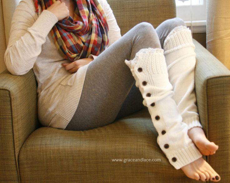 Slouchy Button Down LEG WARMERS w/ Ivory Knit Lace, Love em'