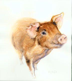 Wee Pig watercolor © Cynthia Crawford