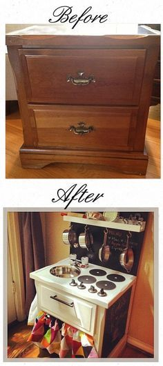 DIY Kinderküche - aus altem Nachtkasterl - - before & after :: old nightstand turned into children's play kitchen