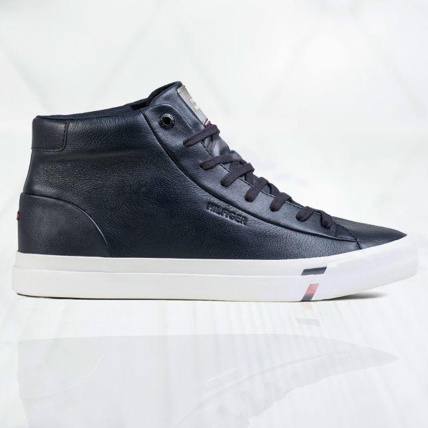 Buty Meskie Tommy Hilfiger Corporate High Leather Sneaker Fm0fm02674dw5 Czarny Promocja Sklep Snea In 2020 Tommy Hilfiger Leather Sneakers Tommy Hilfiger Shoes