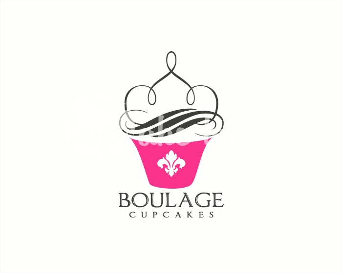 Boulage Cupcakes premade cupcake logo design with matching branding and identity set from Cupcakelogos.com SOLD