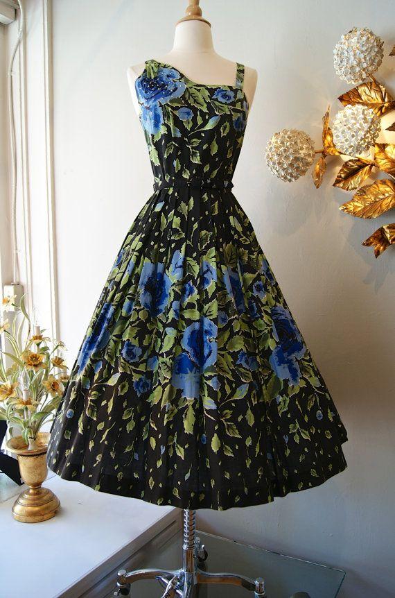 Vintage 1950s Dress // 50's Blue Rose Garden Party Dress on Etsy, $398.00